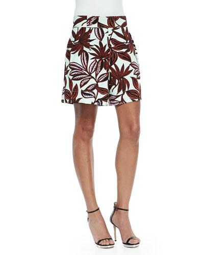 Palm-Print Pleated Shorts, Mint/Rust
