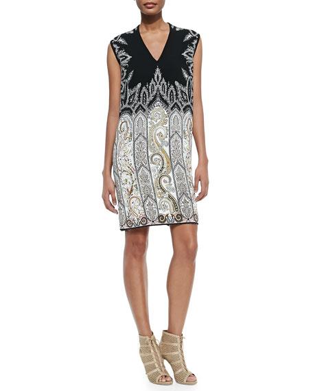 Etro V-Neck Petal/Paisley Combo Dress