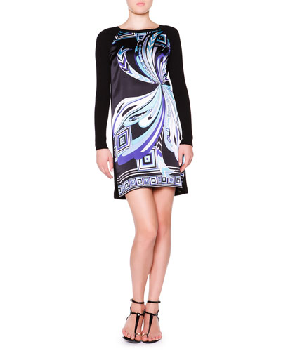 Emilio Pucci Printed Satin Dress with Long Knit Sleeves, Black/Blue