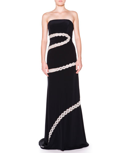 Emilio Pucci Strapless Crystal Chain A-Line Gown
