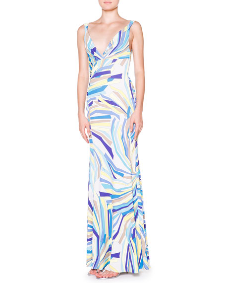 Emilio Pucci Side-Ruched Tank Maxi Dress