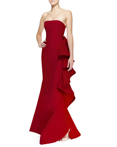 Oscar de la Renta Strapless Bow & Ruffled-Back Gown
