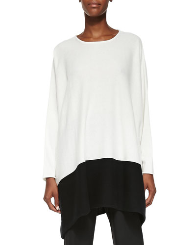 eskandar Cashmere Tunic Sweater W/ Colorblock Hem