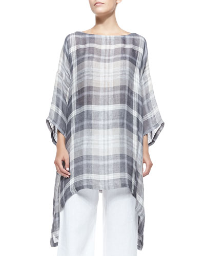 3/4-Sleeve Plaid Tunic