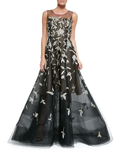 Oscar de la Renta Silver-Embroidered Evening Gown, Black