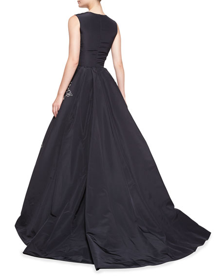 Oscar de la Renta Sleeveless Floral-Embroidered Gown, Navy