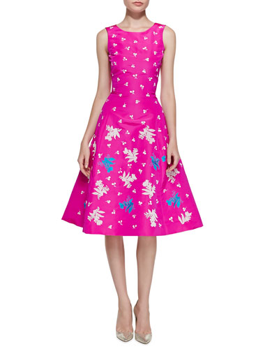 Oscar de la Renta Sleeveless Embroidered Cocktail Dress, Shocking Pink