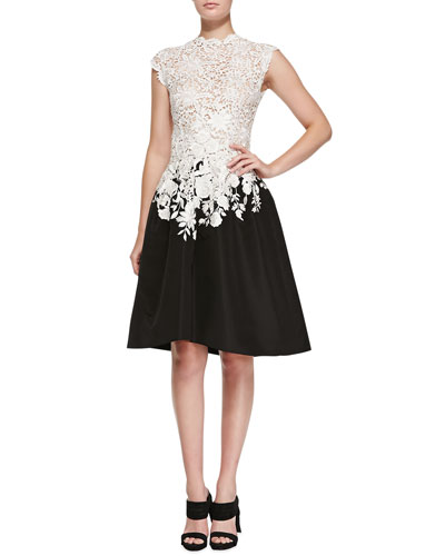 Oscar de la Renta Lace & Faille High-Low Dress, Ivory/Black