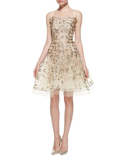 Oscar de la Renta Gold Sequin Embroidered Flare Dress