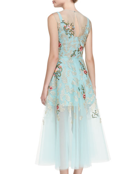 Floral Embroidered Cocktail Dress, Aquamarine