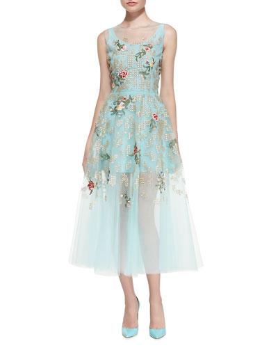Oscar de la Renta Floral Embroidered Cocktail Dress, Aquamarine