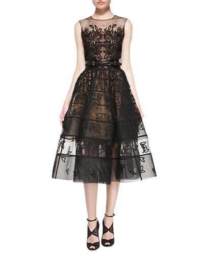 Oscar de la Renta Embroidered Mesh Flare Dress, Black