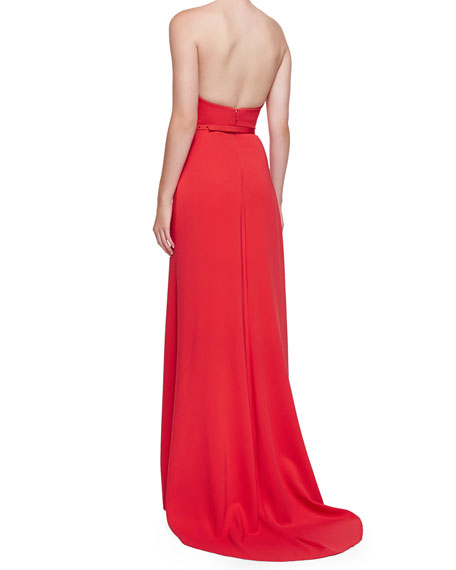 Strapless Sweetheart Gown, Tomato Red