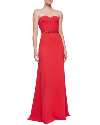 Oscar de la Renta Strapless Sweetheart Gown, Tomato Red