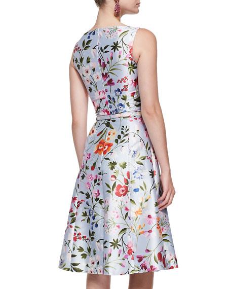 Floral A-Line Dress with Self Belt