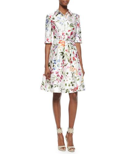 Oscar de la Renta Half-Sleeve Floral-Print Shirtdress