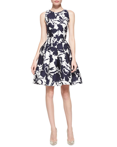 Sleeveless Floral Fit-and-Flare Dress