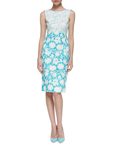 Oscar de la Renta Sleeveless Two-Tone Floral Sheath Dress