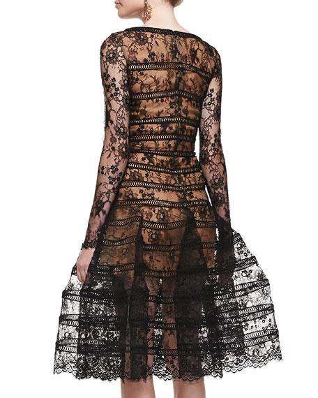 Long-Sleeve Lace Overlay Midi Dress