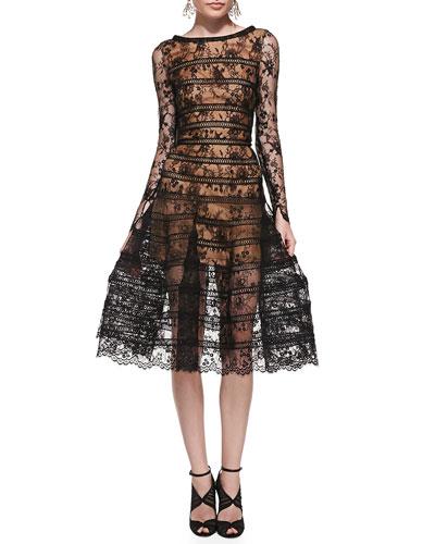 Oscar de la Renta Long-Sleeve Lace Overlay Midi Dress