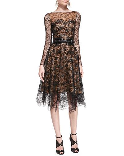 Oscar de la Renta Long-Sleeve Lace Overlay Dress