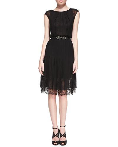 Oscar de la Renta Cap-Sleeve Lace-Bottom Dress