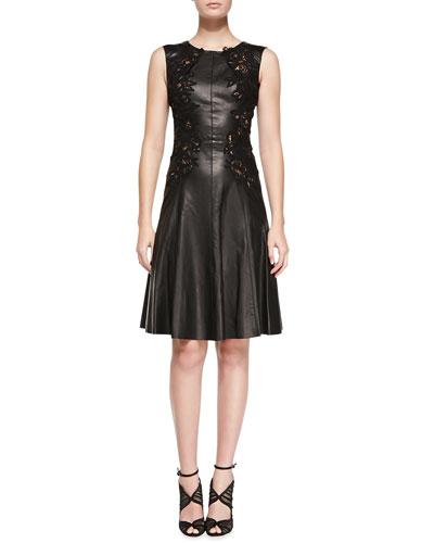Oscar de la Renta Sleeveless Leather Dress with Cutouts, Black