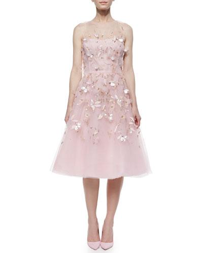 Oscar de la Renta Strapless Beaded & Feather Cocktail Dress