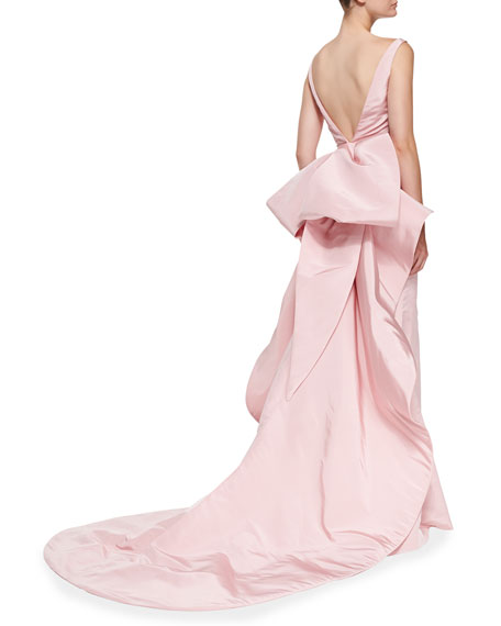 Sleeveless Oversize Bow-Back Gown