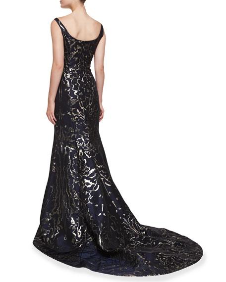 Sleeveless Moire Metallic Mermaid Gown