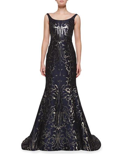 Oscar de la Renta Sleeveless Moire Metallic Mermaid Gown