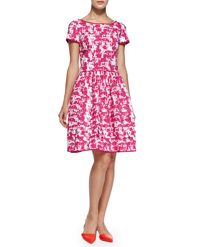 Oscar de la Renta Short-Sleeve Printed Fit & Flare Dress