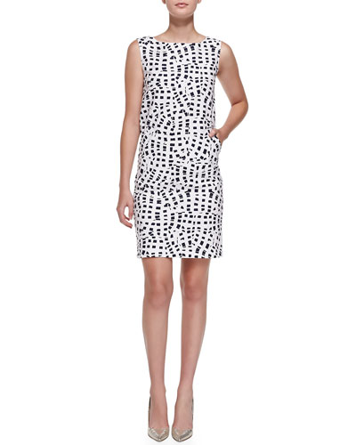 Oscar de la Renta Sleeveless Square-Print Shift Dress