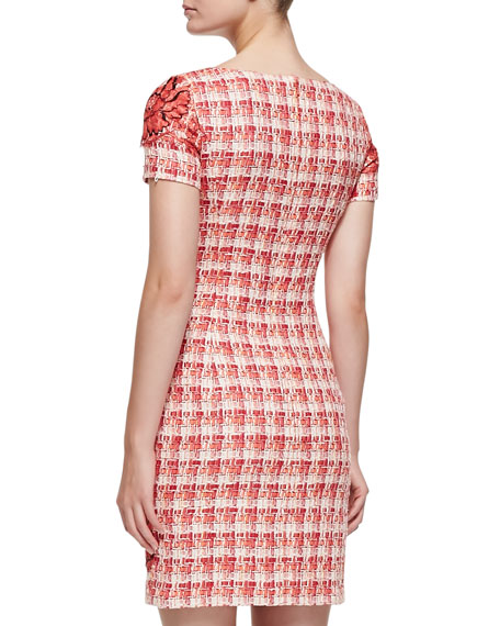 Short-Sleeve Floral Tweed Sheath Dress