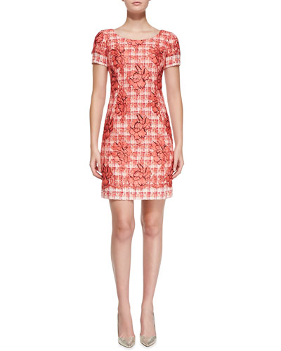 Oscar de la Renta Short-Sleeve Floral Tweed Sheath Dress