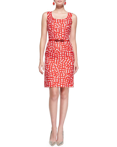 Oscar de la Renta Square-Print Sheath Dress