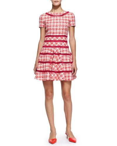 Oscar de la Renta Short-Sleeve Tweed Fit-and-Flare Dress
