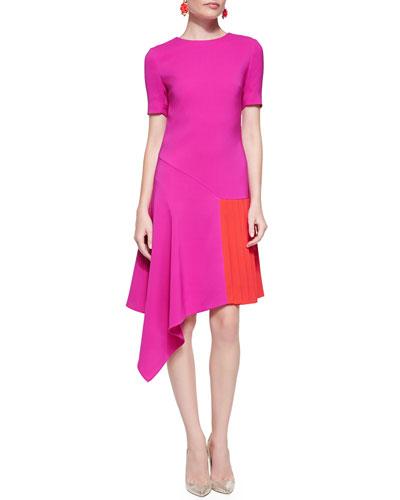 Oscar de la Renta Short-Sleeve Dress W/ Asymmetric Hem