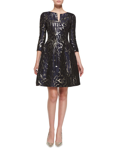 Oscar de la Renta 3/4-Sleeve Marble-Print Cocktail Dress