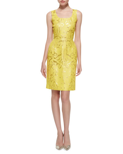 Oscar de la Renta Sleeveless Marble-Print Sheath Dress