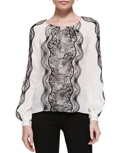Oscar de la Renta Long-Sleeve Silk Lace-Panel Blouse