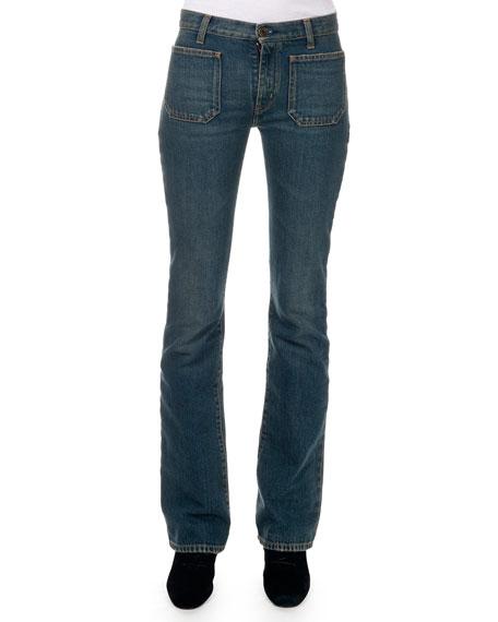 Saint Laurent Flared Jeans w/ Front Patch Pockets
