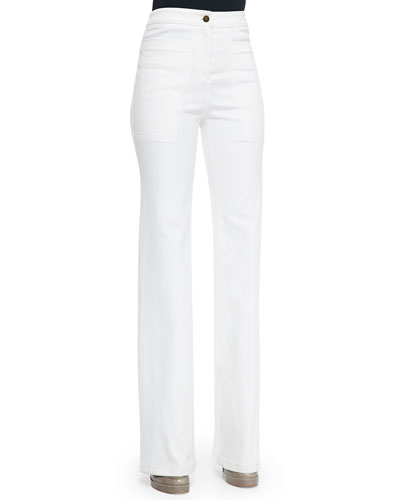 High-Waist Wide-Leg Denim Pants, White