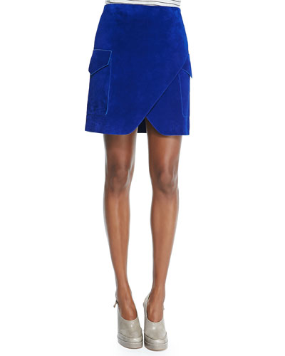 Nubuck Short Cargo Skirt with Notched Hem