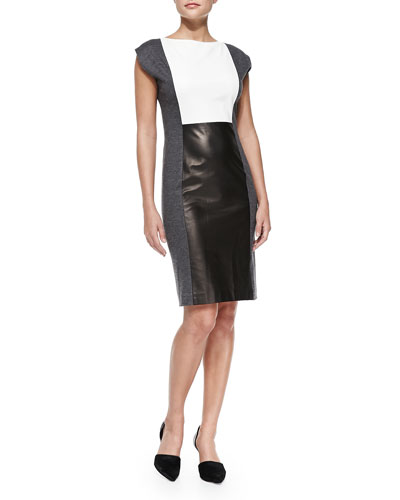 Paper Leather Colorblock Dress