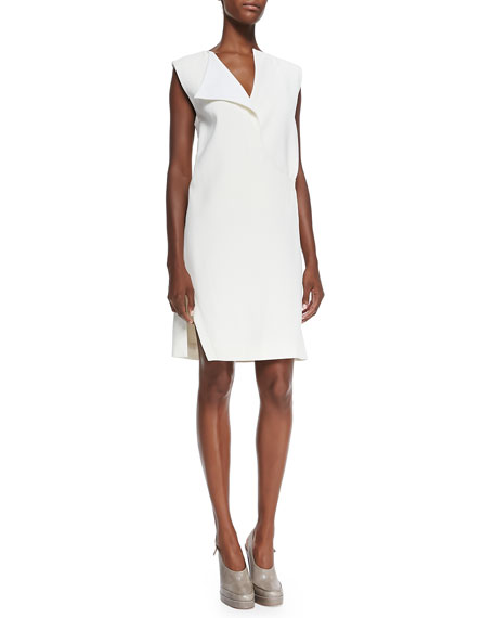 Derek Lam Sleeveless Flap-Collar Shift Dress