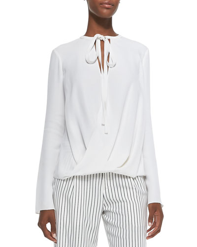 Long-Sleeve Wrap-Front Silk Blouse