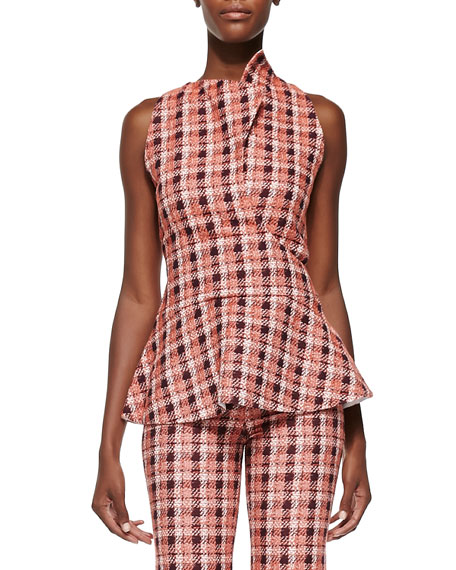 Derek Lam Novelty Plaid Sleeveless Peplum Top, Orange/Multi