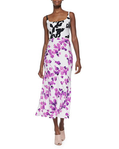 Mixed Floral-Print Charmeuse Dress