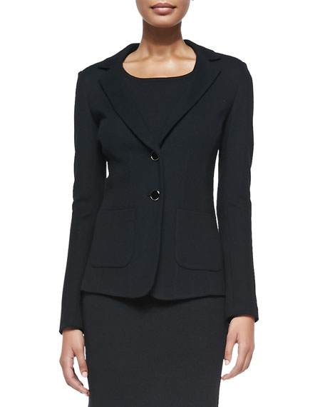St. John Collection Milano Pique Knit Fitted Blazer,